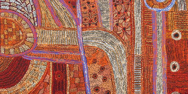 Betty Chimney & Raylene Walatinna, Nganampa Ngura (Our Country) (detail) (2018), Acrylic on Linen, 122 x 152cm.