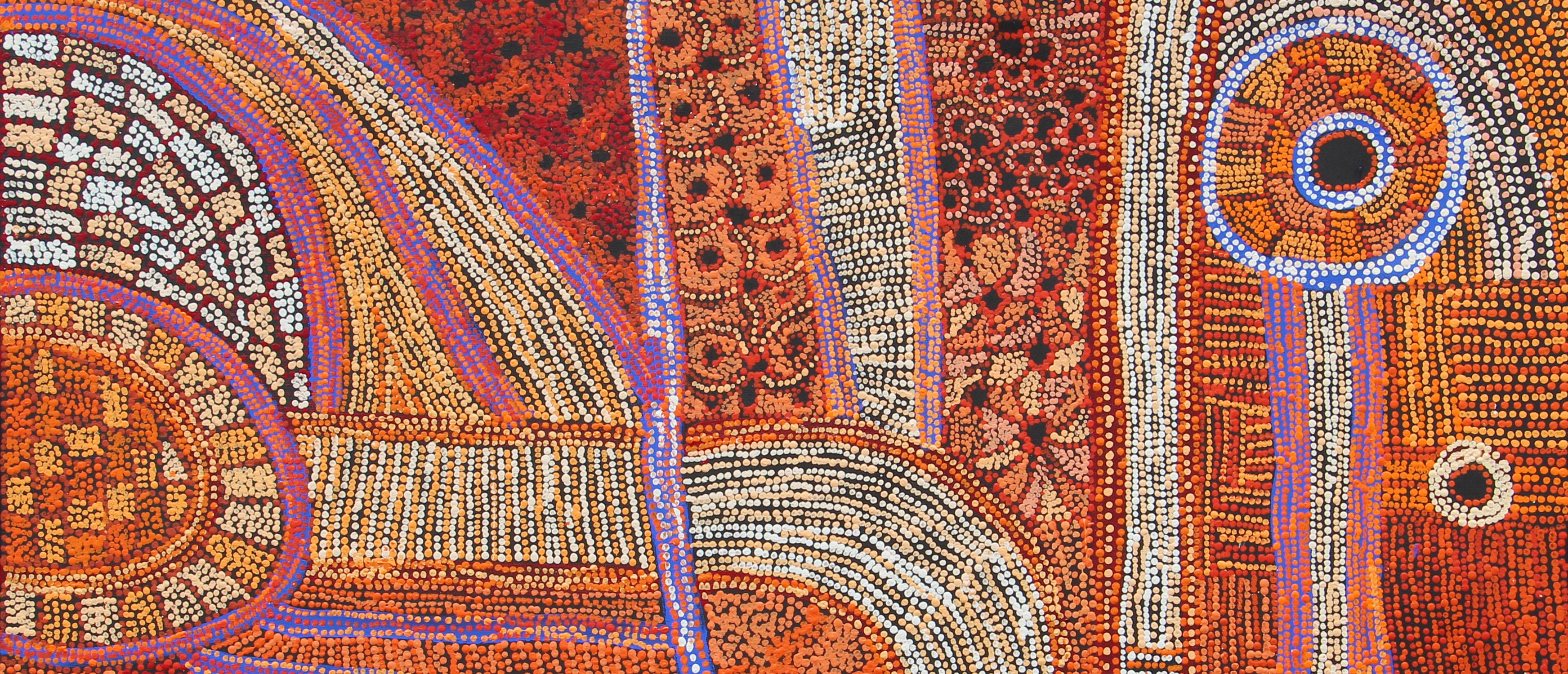 Betty Chimney & Raylene Walatinna, Nganampa Ngura (Our Country) (detail) (2018), Acrylic on Linen, 122 x 152cm.